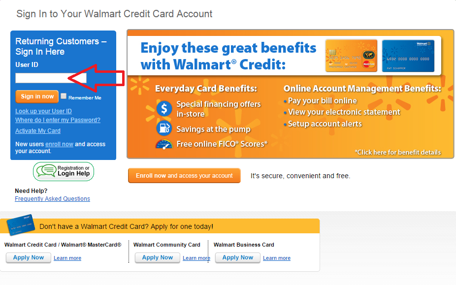walmart cc account access user id box img