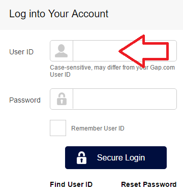 gap credit card login page user id box img
