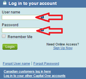 capital one credit card sign in page username and password box img
